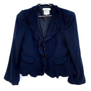 Armani Collezioni Navy Ruffle Blazer Jacket